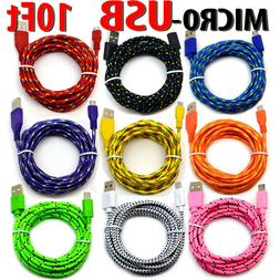 10' Foot Micro USB 2.0 Cable For Android Phones Charging Syn