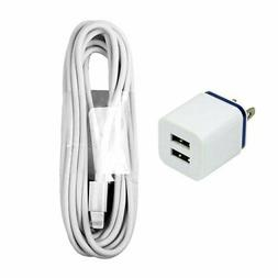 10 ft Long 8-pin Cord with 10W Fast Dual Port Wall Charger i