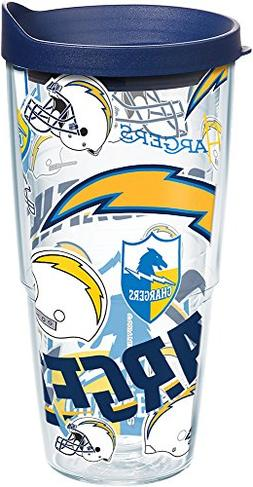 Tervis 1248207 NFL Los Angeles Chargers All Over Tumbler wit