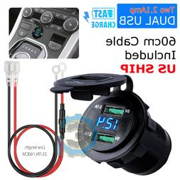 12V Dual USB Car Cigarette Lighter Socket Splitter Charger P