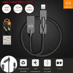 MCDODO 2.4A 2in1 Charger Nylon Lightning Micro USB Data Cabl