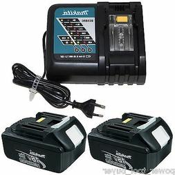 2 Makita BL1830 Cordless 18V LXT Li-Ion Battery Packs & 220/