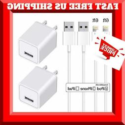 2 Chargers for iPhone Single Port USB Wall Chargers & TWO 6