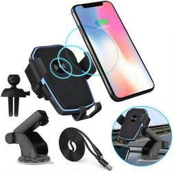 2 In 1 Qi Wireless Car Suction Cup Mount Holder Fast Charger
