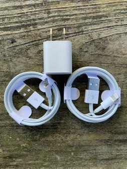 2 iPhone Charger Cables Wall Cube for iPhone 6 7 8 Plus X XR