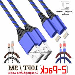 2 Pack 10 Ft Long Cable Heavy Duty Charger Charging Cord for