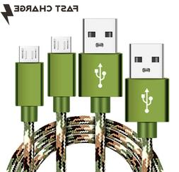 2 Pack CAMO Tactical Braided 4ft Micro USB FAST Charger Cabl