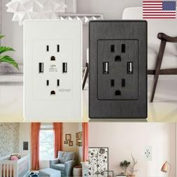 2 USB Port Electrical Outlet Panel Wall Plug Socket Charger