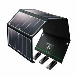 RAVPower 24W Solar Panel Charger w/ Triple USB Ports Waterpr