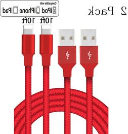 2Pack 10Ft Lightning Cable For Apple iPad Pro,Air,Mini,iPhon