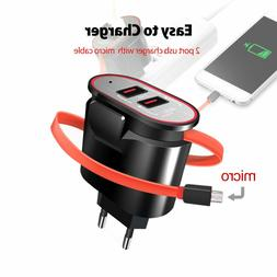2port USB US/EU/UK plug wall charger with wire for iPhone or