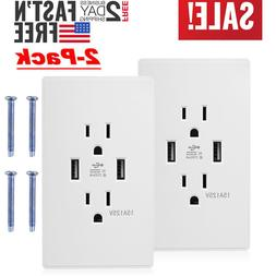 2x Dual USB Wall Outlet Charger with 15A Electrical Receptac