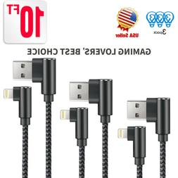 3 Pack 10ft Right Angle 90 Degree Lightning Charger Cable &