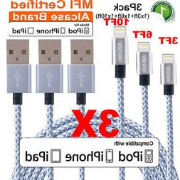 3-Pack 3FT 6FT 10FT Braided iPhone 8 7 6 Apple Certified Lig