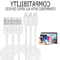 3 Pack 10 Foot Apple MFi Certified Lightning Charger Cable F