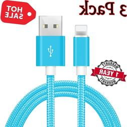 3 Pack 10 Ft Lightning Cable Heavy Duty Iphone X 8 7 6plus C