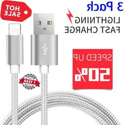 3 Pack 10FT Lightning Cable Heavy Duty Fast Charger Charging