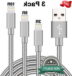 3 Pack 3 6 10 Foot Apple MFi Certified USB Charger Cable For
