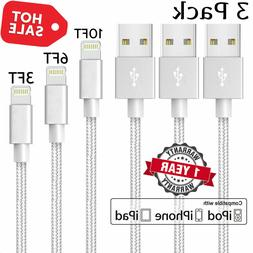 3 Pack 3 6 10Ft Lightning Cable iPhone X 8 7 6 USB Charger H