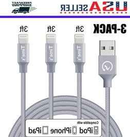3-Pack 3Ft Lightning Cable Heavy Duty iPhone 6 s 7 8 plus Ch