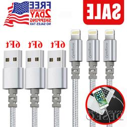 3 Pack 6 Foot Apple Lightning Charging Cable Cord iPhone X/8