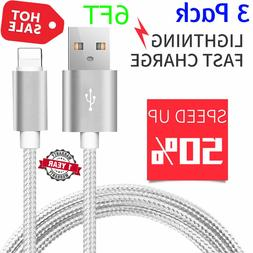 3 Pack 6 Ft Lightning Cable Heavy Duty iPhone 8 7 6 plus Cha