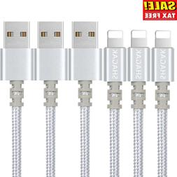 3 Pack 6 Ft Lightning Cord Fits iPhone X 8 7 6 Heavy Chargin