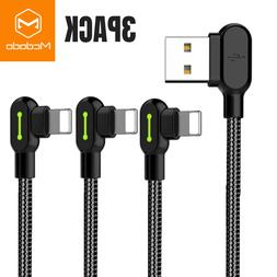 Mcdodo 3 PACK 6FT 90 Degree Lightning Charging Cable Charger