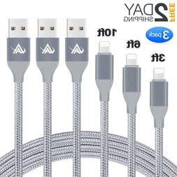 3 Pack Apple MFi Certified Lightning Charger Cable For iPhon