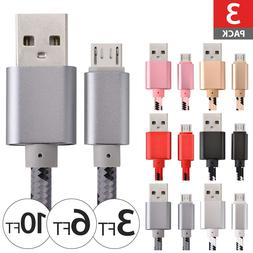 3 PACK Braided Fast Charger Micro USB Cable Cord Quick Rapid