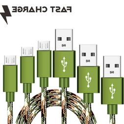3 Pack CAMO Tactical 4,6,10ft Micro USB FAST Charger Cable f
