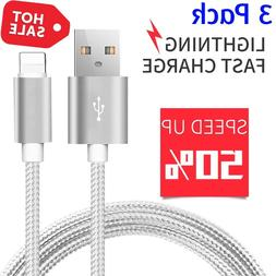 3 PACK Nylon Braided Lightning USB Data Cable Charger Cord f