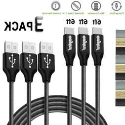 3 Pack Nylon Braided Rope USB-C Type-C 3.1 Data Sync Charger
