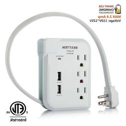 BESTTEN 3 Outlet Power Strip, Low Profile Surge Protector  w