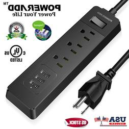 3 Outlet Power Strip Surge Protector With 3 USB Wall Charger