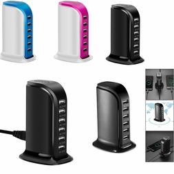 30W 6A 6Port Multi-function USB Fast Charger AC Power Adapte
