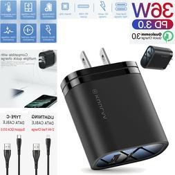 36W QC3.0 PD Dual Port Quick Wall Charger Adapter Power + Li
