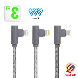 3Pack 3ft 90Degree Right Angle for Apple iPhone lightning Ca