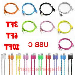 3FT 6FT 10FT Braided Rope USB-C Type-C Data Sync Charger Cha