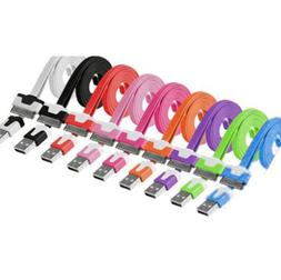3ft Flat Noodle 30 Pin Sync Cable Charger Cord Data for iPho