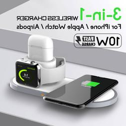 3IN1 10W QI Wireless Fast Charger Pad Dock For iPhone Apple