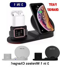 3in1 Qi Wireless Fast Charger Dock Stand Watch For AirPods i