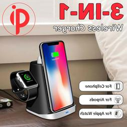 3in1 Qi Wireless Fast Charger Stand Dock Cable for iPhone Ai