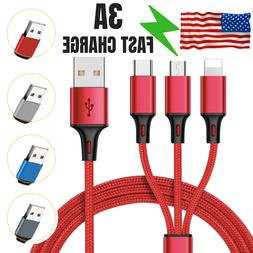 3in1 USB Phone Charger Universal Fast Charging Nylon Braided