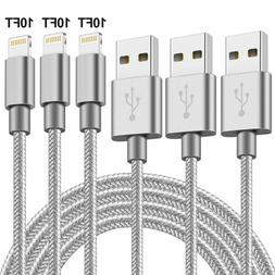 3Pack 10Ft Fabric Grey Cable Heavy Duty For iPhone 7 8 Charg