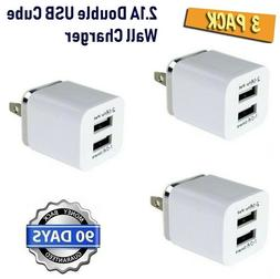 3pack  2.1A Double USB Cube Wall Charger for iPhone 6,6S,SE,