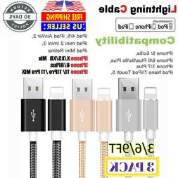 3Pack 6Ft Lightning Cable Heavy Duty For iPhone 11 8 7 6 Cha