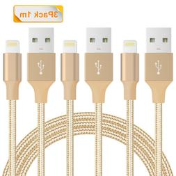 3X 3FT Nylon Braided Charger Data Cable USB Cord for iPhone
