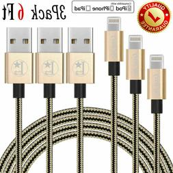 3x 6Ft Lightning Cable Heavy Duty Apple iPhone X XS 8 7 6 Ch