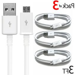 3-Pack 3FT Micro USB Cable Fast Charge Data Sync Charger Cor